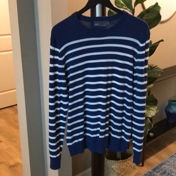 Vince Sweaters Mens Blue And White Striped Sweater Poshmark